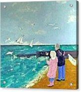 Feeding The Gulls Acrylic Print by Peter Edward Green