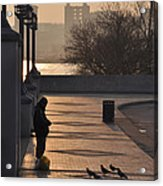 Feeding The Pigeons At Dawn Acrylic Print
