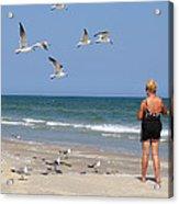 Feeding The Sea Gulls Acrylic Print