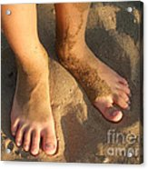 Feet Of A Child In The Sand Acrylic Print