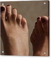 Feet Of A Happy Woman After Coupling Acrylic Print