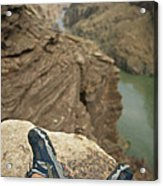 Feet Shod In River Shoes On An Overlook Acrylic Print by Bobby Model