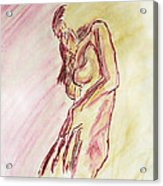 Female Nude Figure Sketch In Watercolor Purple Magenta And Yellow With A Warm Sunlit Background Acrylic Print