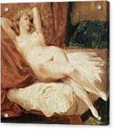 Female Nude Reclining On A Divan Acrylic Print by Eugene Delacroix