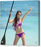 Female Stand Up Paddler Acrylic Print