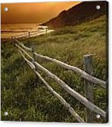 Fence And Sunset, Gooseberry Cove Acrylic Print