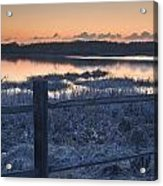 Fence By Lake At Sunset Acrylic Print