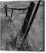 Fence Posts And Barbed Wire At The Edge Of A Field In Montana Acrylic Print