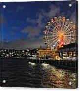 ferris wheel at night in Sydney Harbour Acrylic Print by Jacques Van Niekerk
