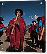 Festival De Danzas Tradicionales En La Poblacion De Copusquia. Republica De Bolivia. Acrylic Print by Eric Bauer