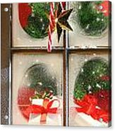 Festive Holiday Window Acrylic Print by Sandra Cunningham