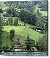 Few Houses On The Slope Of Mountain Next To Lake Lucerne Acrylic Print