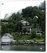 Few Houses On The Slope Of Mountain Next To Lake Lucerne In Switzerland Acrylic Print