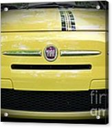 Fiat 500 Yellow With Racing Stripe Acrylic Print