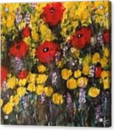 Field Of Flowers With Poppies Acrylic Print