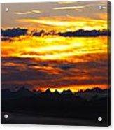Fiery Sunrise Over The Cascade Mountains Acrylic Print