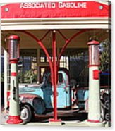 Filling Up The Old Ford Jalopy At The Associated Gasoline Station . Nostalgia . 7d12883 Acrylic Print
