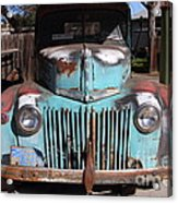 Filling Up The Old Ford Jalopy At The Associated Gasoline Station . Nostalgia . 7d12885 Acrylic Print