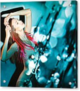 Fine Art Portrait Of Fashion Woman Posing Over Abstract Background Acrylic Print