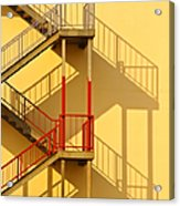 Fire Escape And Shadow Acrylic Print by David Buffington