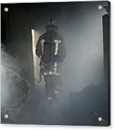 Fire Fighter In A Burnt House Acrylic Print