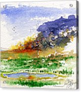 Fire On The Pond Acrylic Print