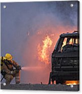 Firefighters Hosing A Burning Car Acrylic Print by Duncan Shaw