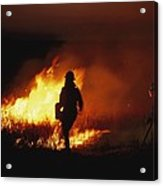 Firefighters Start A Controlled Fire Acrylic Print