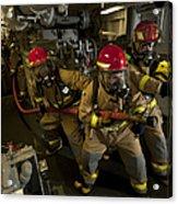 Firemen Combat A Simulated Fire Aboard Acrylic Print