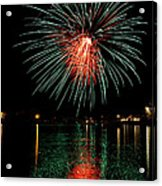 Fireworks Of Green And Red Acrylic Print