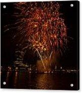 Fireworks On River Thames Acrylic Print