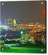Fireworks Over The City Skyline Acrylic Print