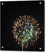 Fireworks With Moon IIi Fm3p Acrylic Print