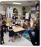 First Lady Michelle Obama Claps Acrylic Print by Everett