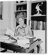 First Lady Pat Nixon Working At A Small Acrylic Print by Everett