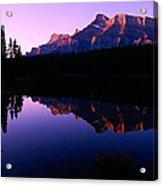 First Light On Mount Rundle Acrylic Print