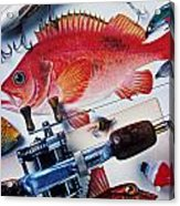 Fish Bookplates And Tackle Acrylic Print by Garry Gay