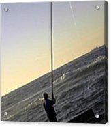 Fisherman Along The Corniche Acrylic Print