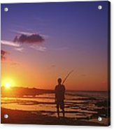 Fisherman At Sunset Acrylic Print