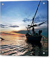 Fisherman Life Huahin Thailand Acrylic Print by Arthit Somsakul