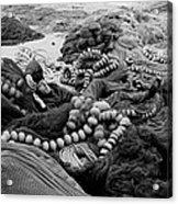 Fisherman Sleeping On A Huge Array Of Nets Acrylic Print