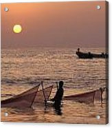 Fishermen Holding Nets In Sea At Sunset Acrylic Print