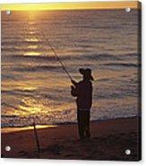 Fishing At Sunrise Acrylic Print by Raymond Gehman