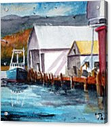 Fishing Boat And Dock Watercolor Acrylic Print