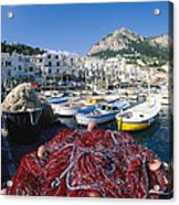 Fishing Boats And Nets In The Marina Acrylic Print