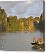 Fishing Boats At Sunset, Halong Bay Acrylic Print