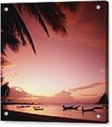 Fishing Boats At Sunset On Mae-haad Acrylic Print