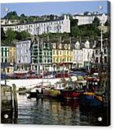 Fishing Boats Moored At A Harbor, Cobh Acrylic Print