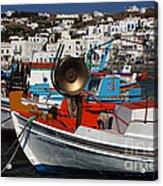 Fishing Boats Mykonos Acrylic Print