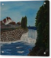 Fishing By The Falls Acrylic Print